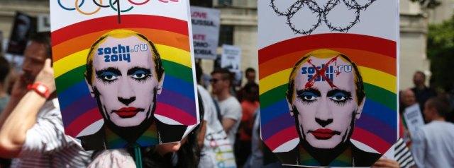 Britain Russia Sochi Protest